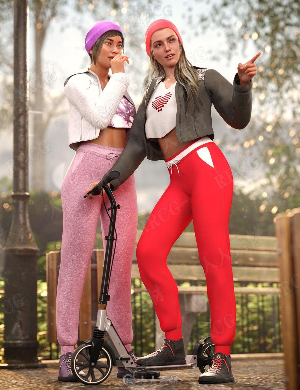 春秋女性多彩运动套装3D模型合集