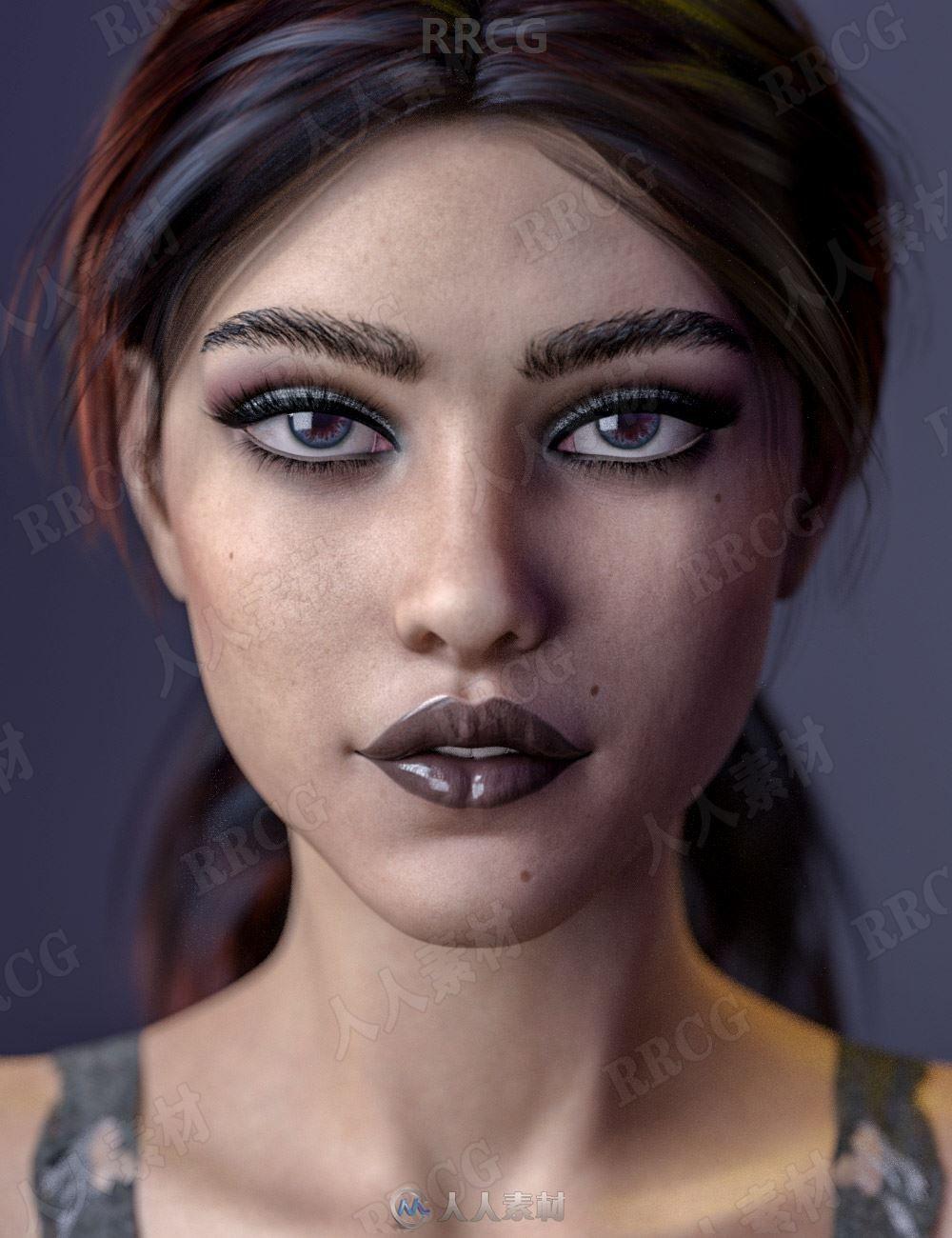 神秘美丽精致五官年轻女性不同造型3D模型合集