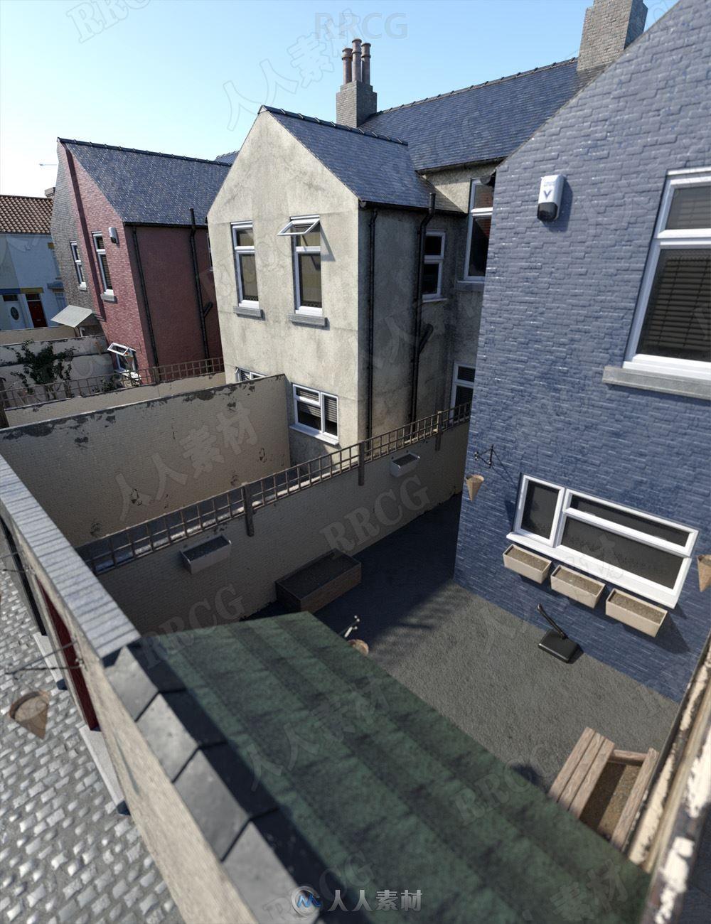 北方露台院子花园和小巷建筑场景3D模型合集