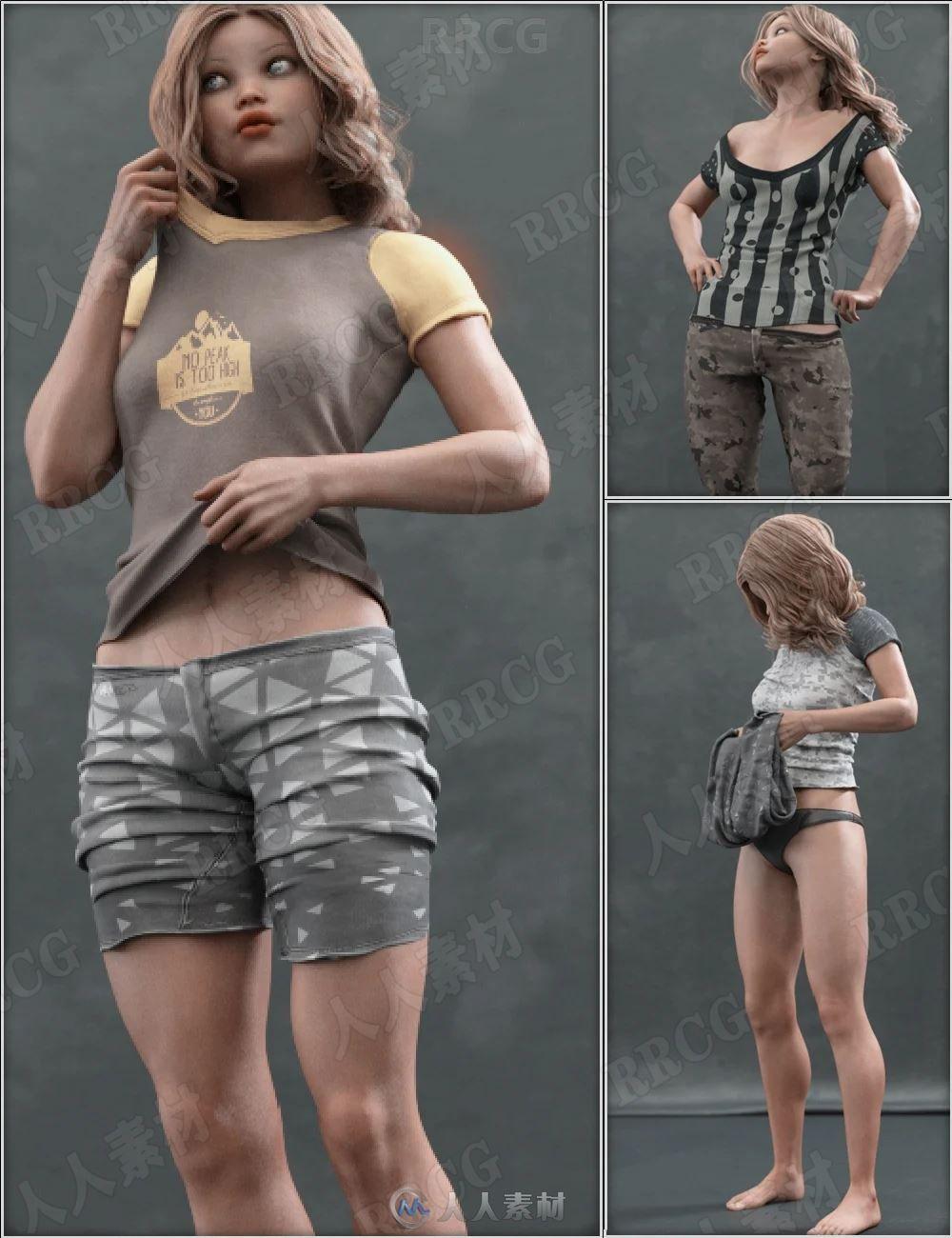 女性日常随意换衣服动作姿势3D模型合集