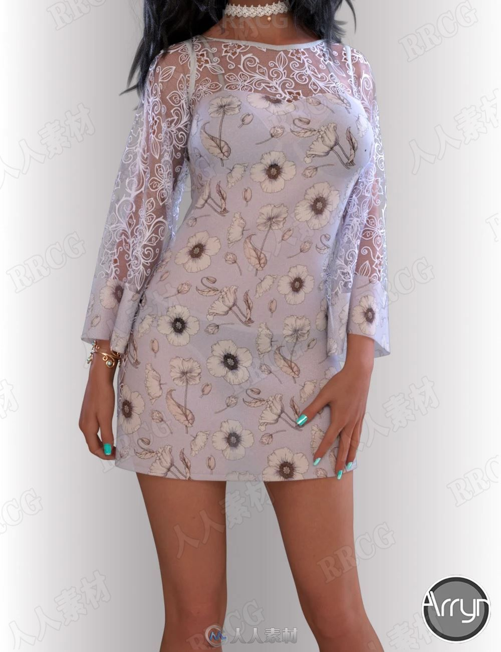 蕾丝微透女性优雅花朵图案连衣裙服饰套装3D模型合集