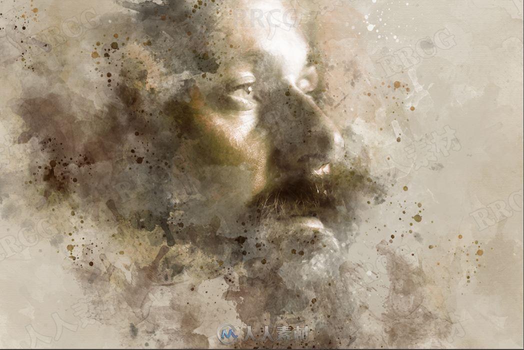 复古泛黄色调写实水彩画艺术图像处理特效PS动作