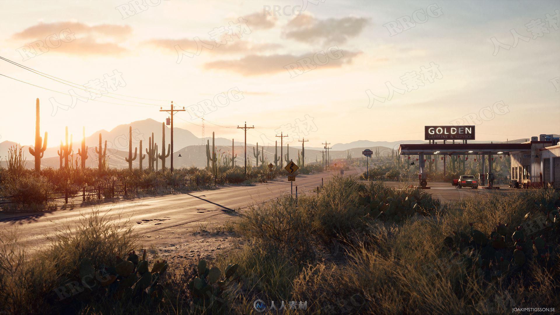 逼真大规模沙漠加油站地形Unreal Engine游戏素材资源