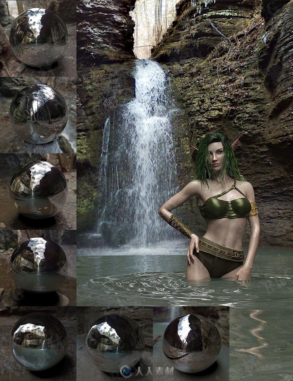狭窄峡谷石窟瀑布洞穴环境场景3D模型合集