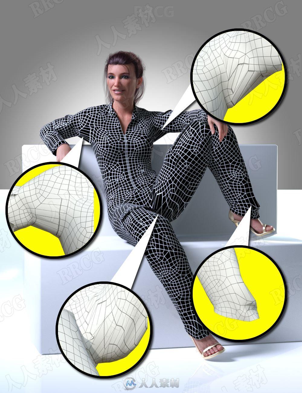 不同人物姿势衣服建模3D模型合集