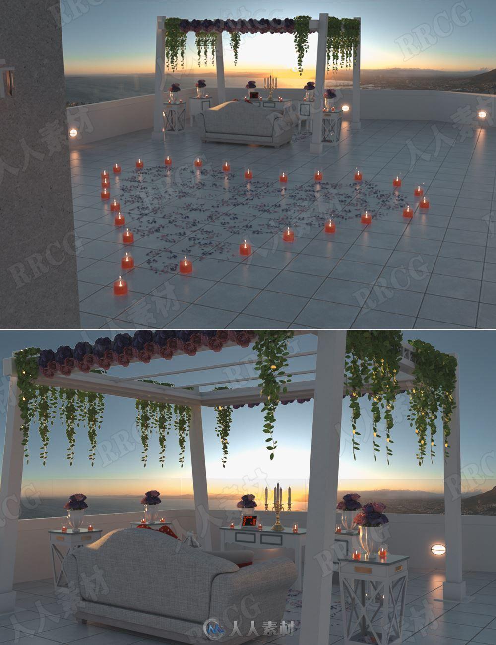 圣托里尼岛浪漫约会室外圣地烛光场景3D模型合集