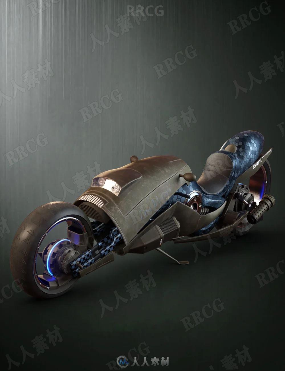 科幻磁悬浮摩托车产品交通工具3D模型合集
