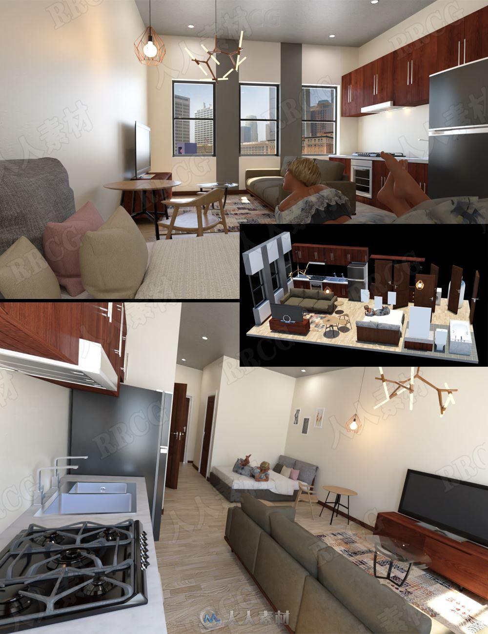 小户型温馨公寓现代化室内设计3D模型合集