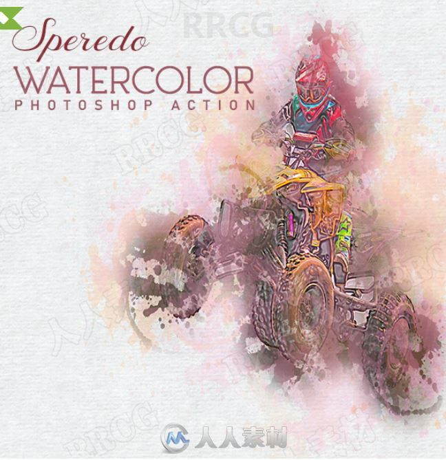浪漫恬静色彩晕染水彩画效果艺术图像处理特效PS动作