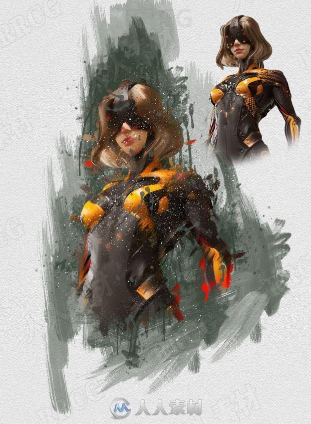 飞溅颜料笔触艺术背景数字绘画效果艺术图像处理特效PS动作