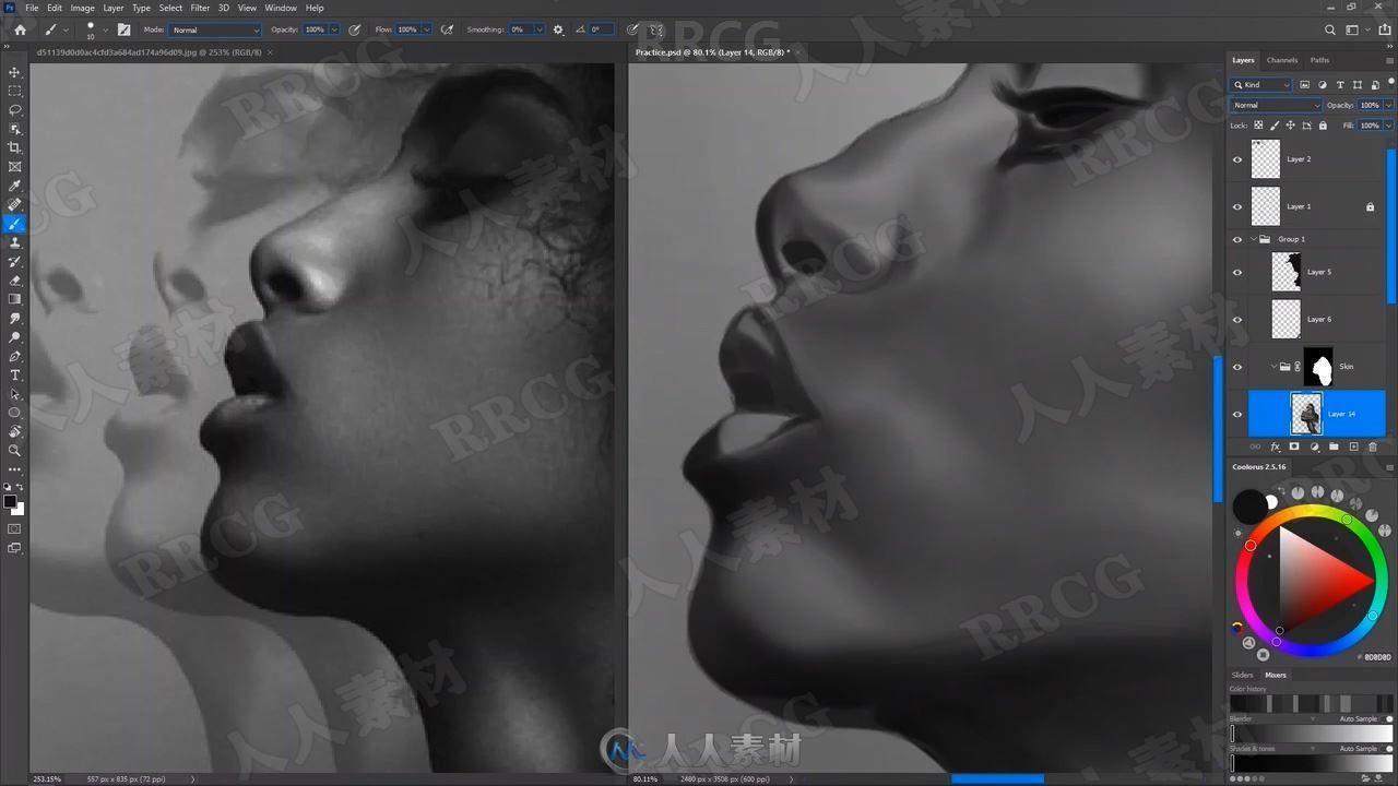 PS中传统铅笔素描效果肖像数字绘画视频教程