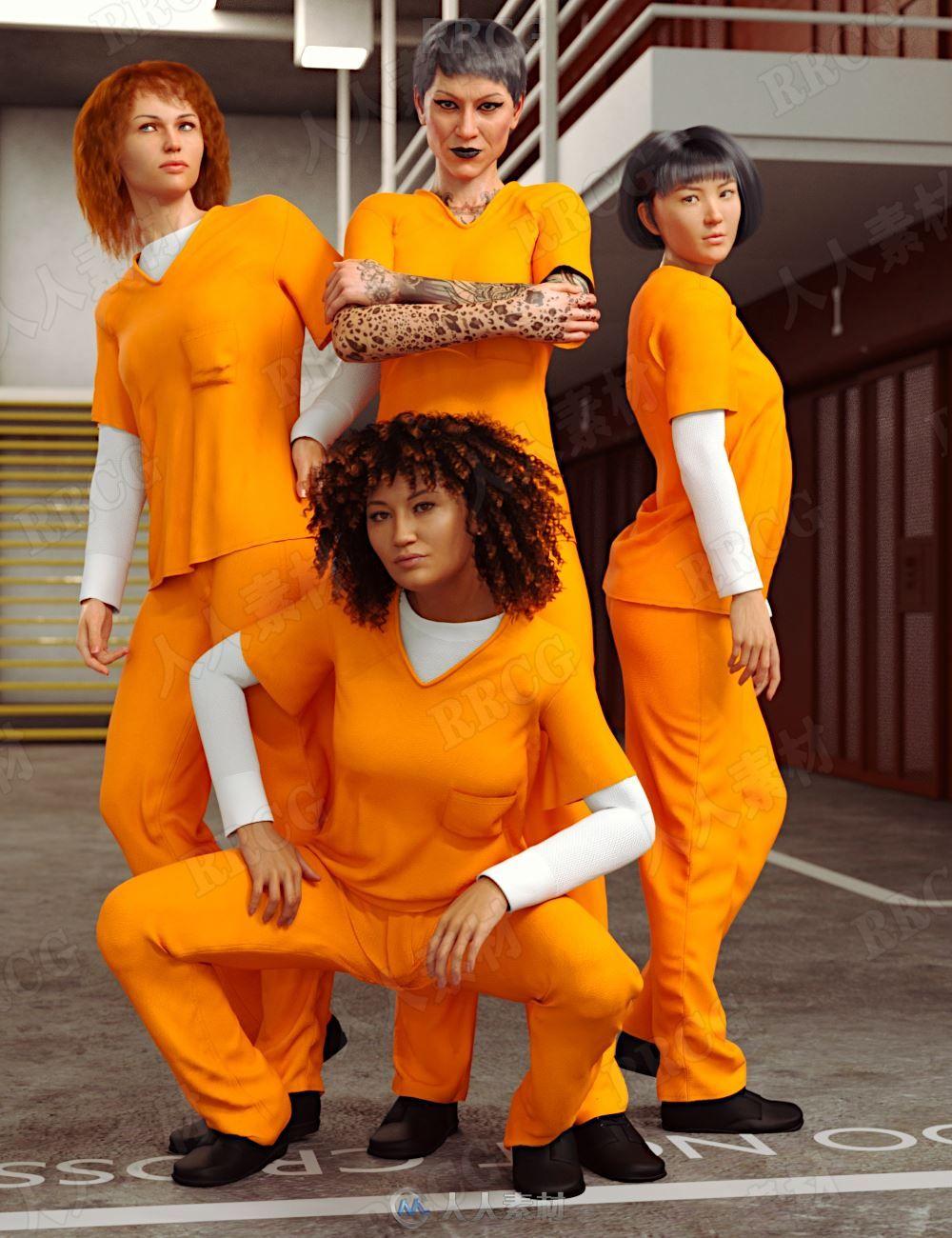 监狱犯人女性囚服服饰套装3D模型合集