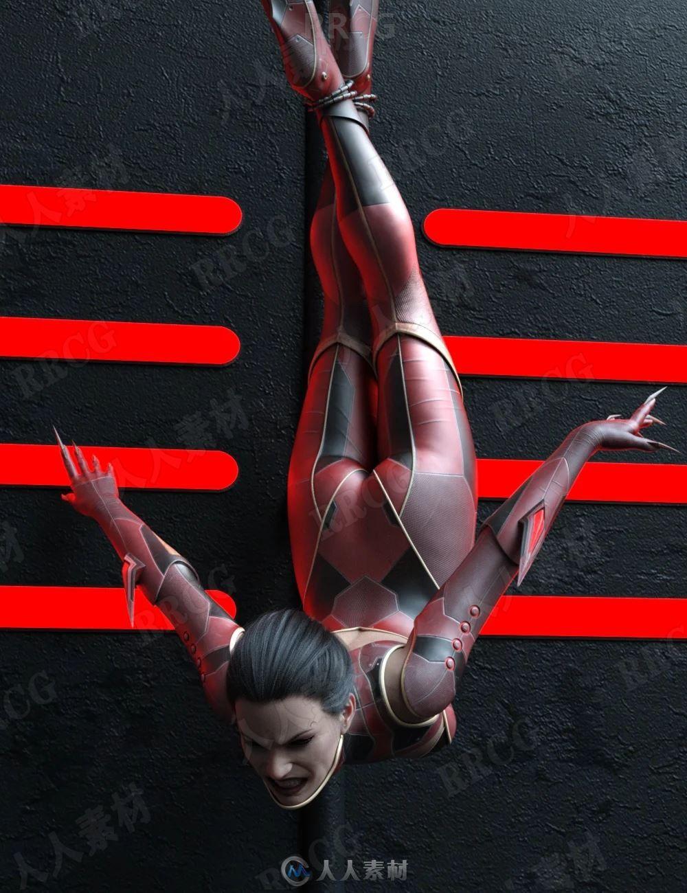 20组女性人物爬行跳跃姿势3D模型合集