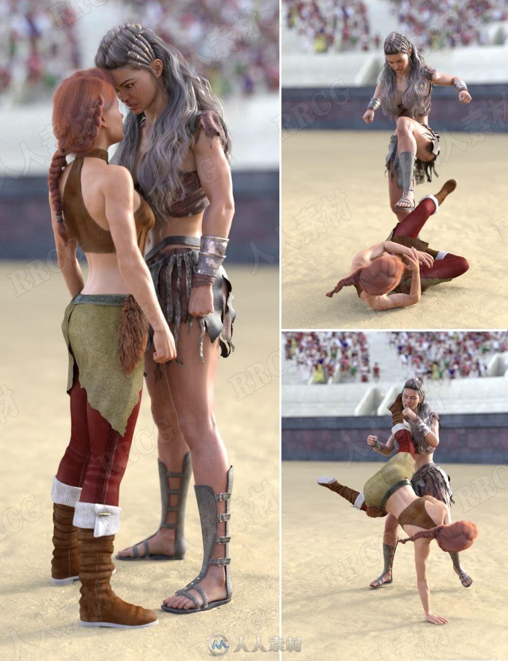 双人对打摔跤人物动作姿势3D模型合集