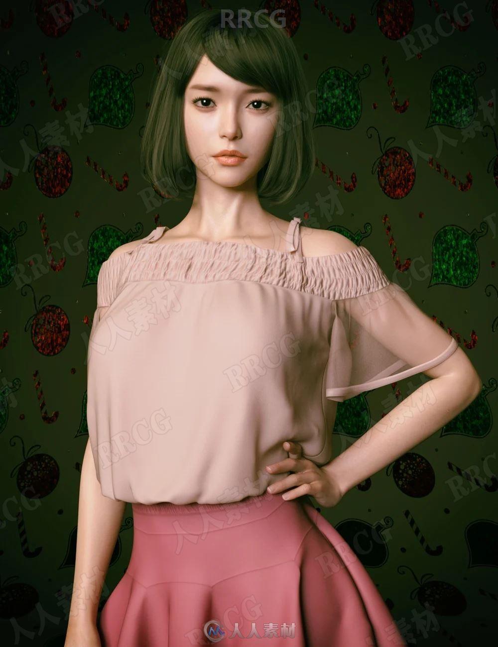 年轻活力女性精致妆容齐耳短发发型3D模型合集