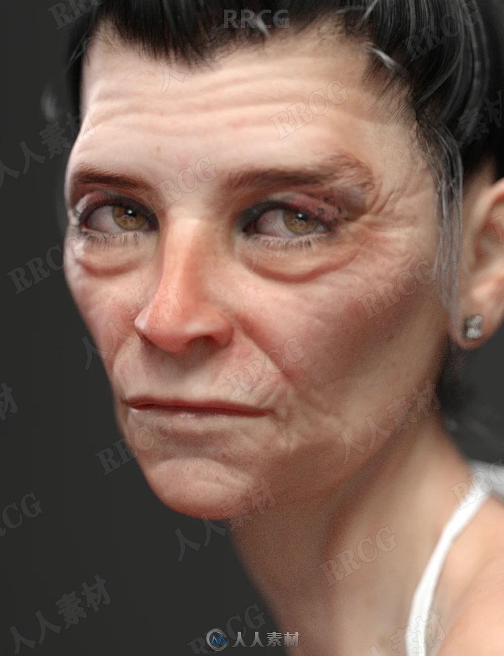 真实皱纹皮肤夸张邪恶妆容老年女性3D模型合集