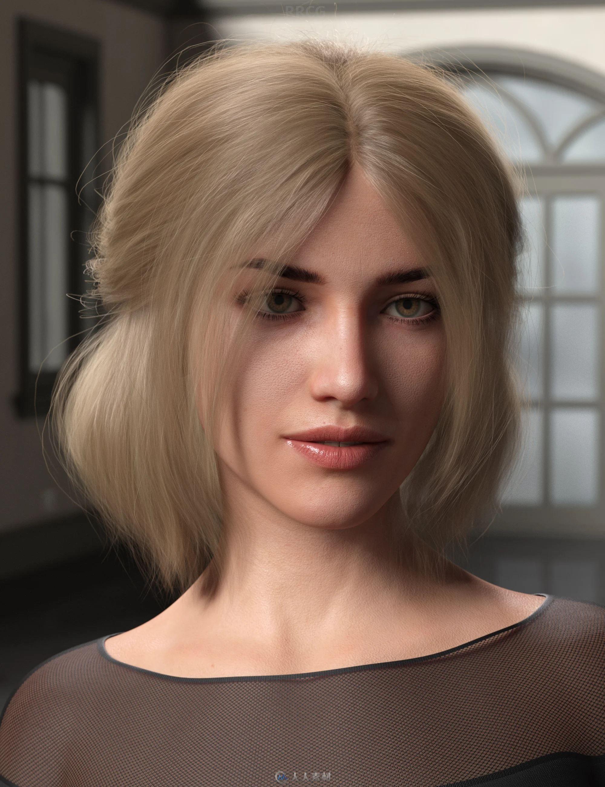 八字刘海半马尾锁骨短发女性不同发色发型3D模型合集