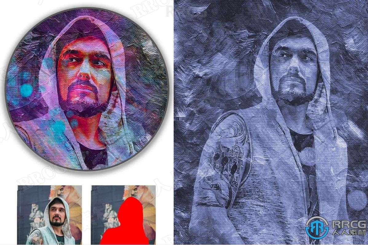 高级梦幻暗色调油画效果人像艺术图像处理特效PS动作