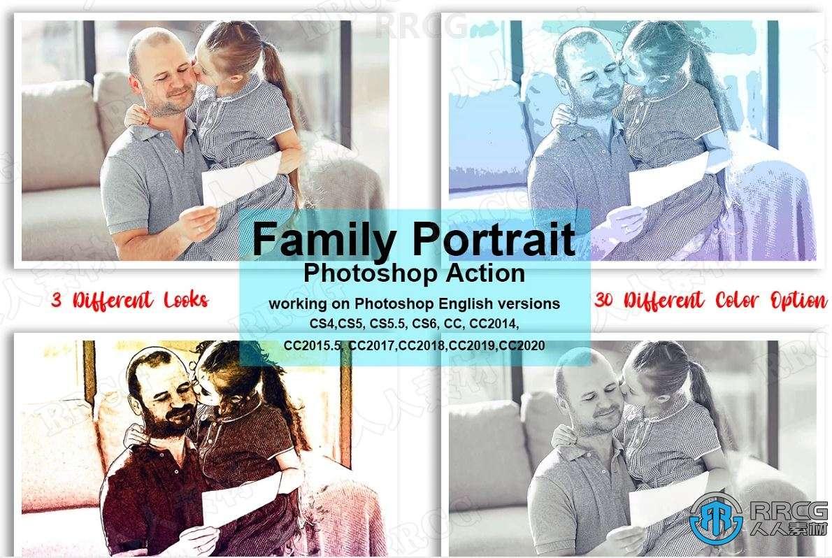 不同绘画纹理效果人像写真艺术图像处理特效PS动作