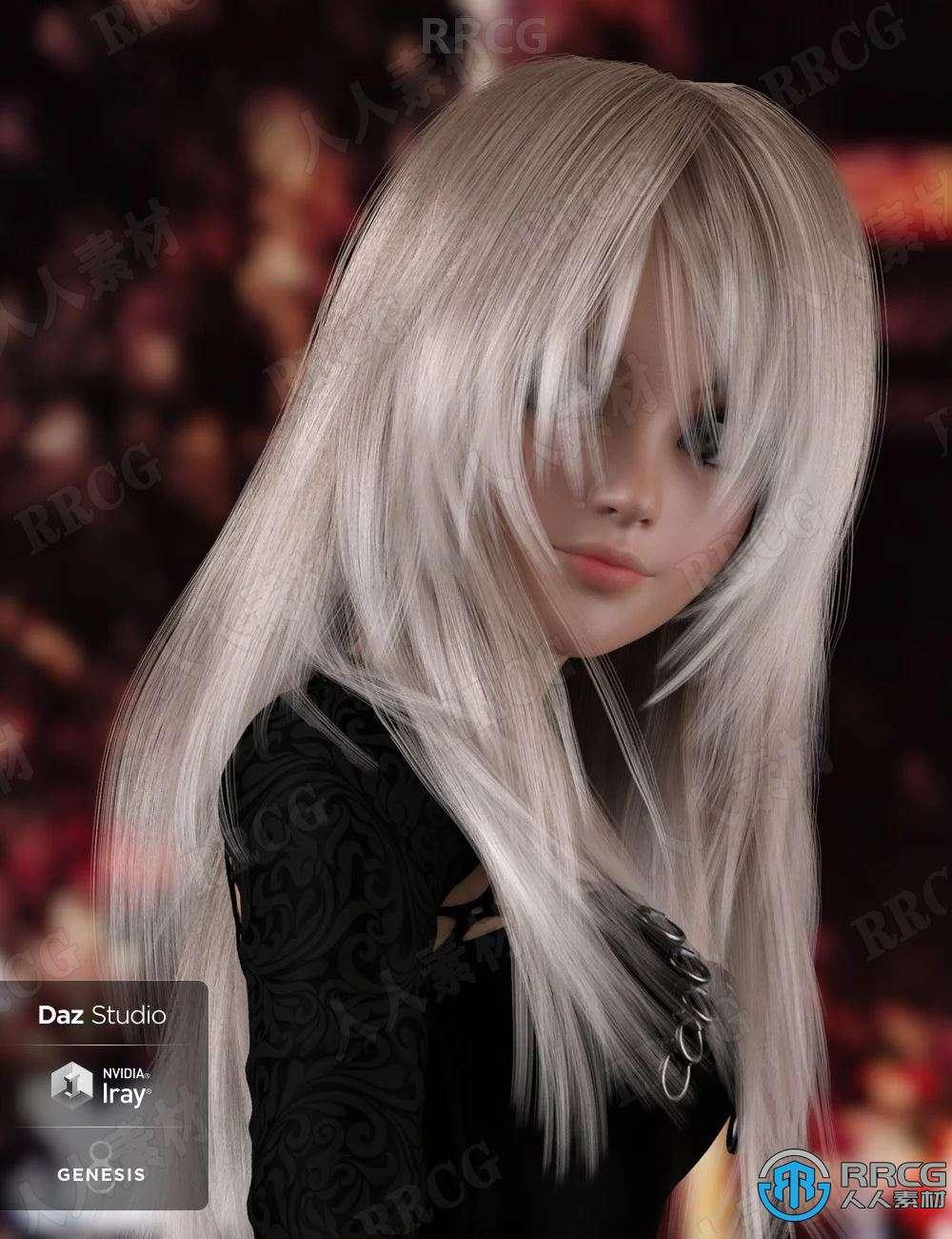 不同发色俏皮蓬松长刘海披肩直发女性发型3D模型合集