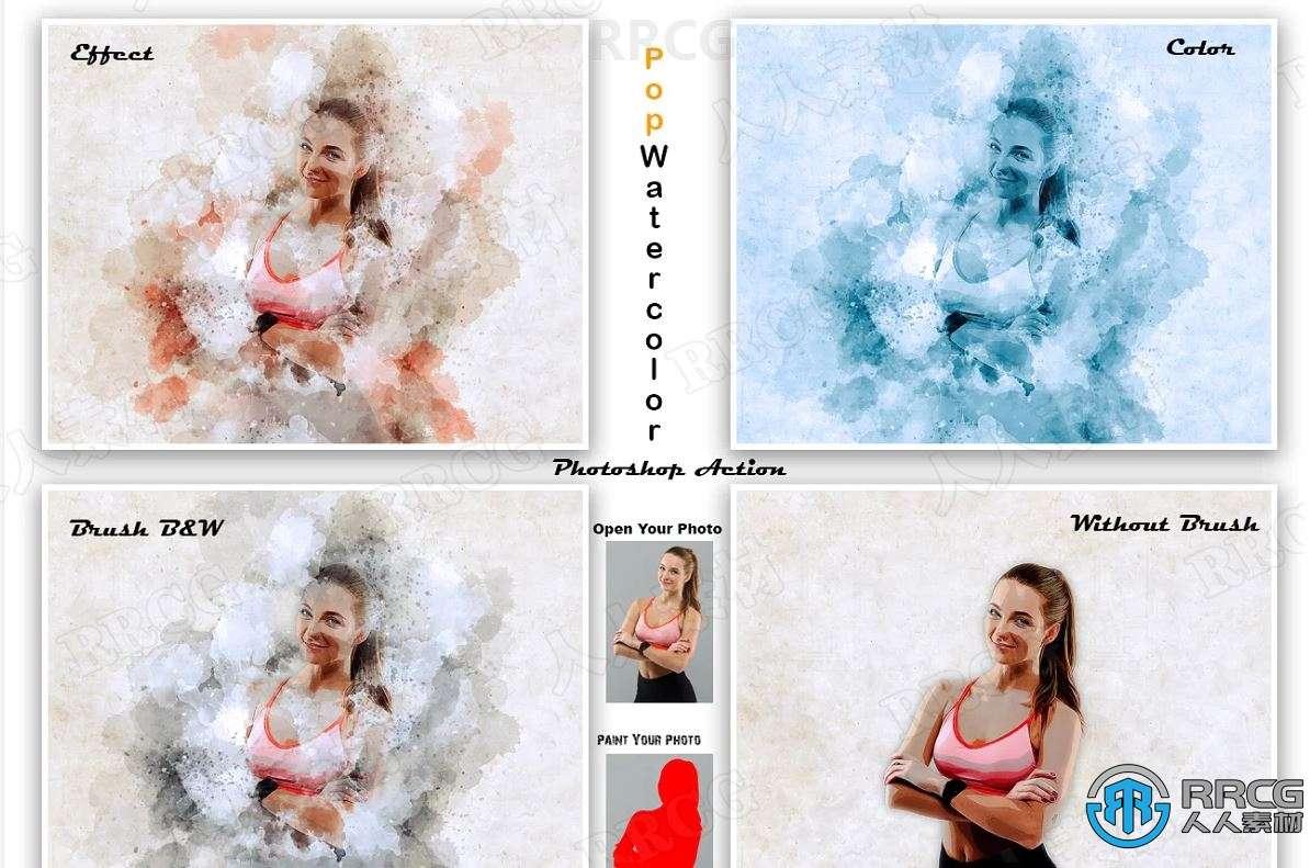 时尚现代多彩水彩画晕染效果人像艺术图像处理特效PS动作
