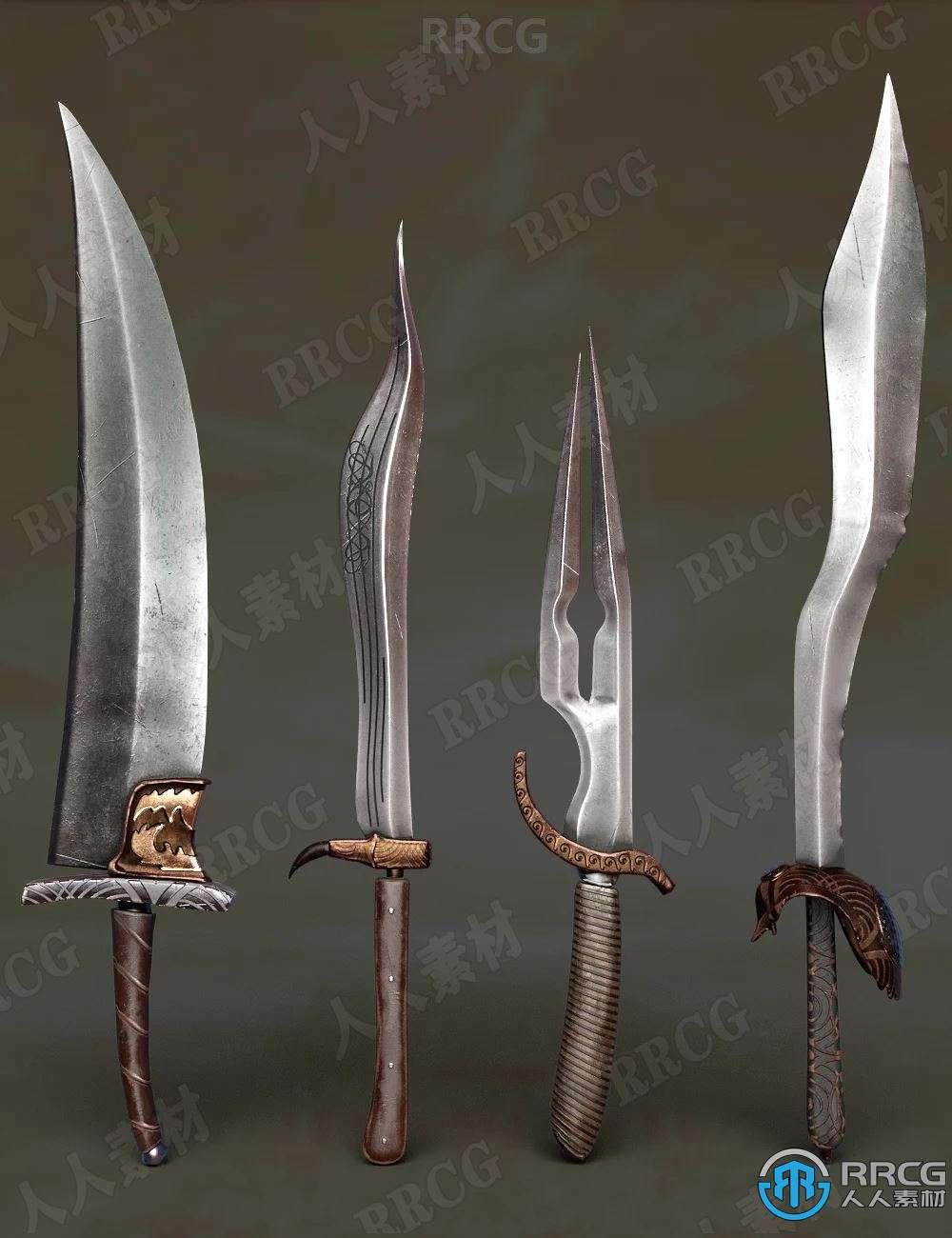 不同种类形状刀剑幻想武器道具3D模型合集