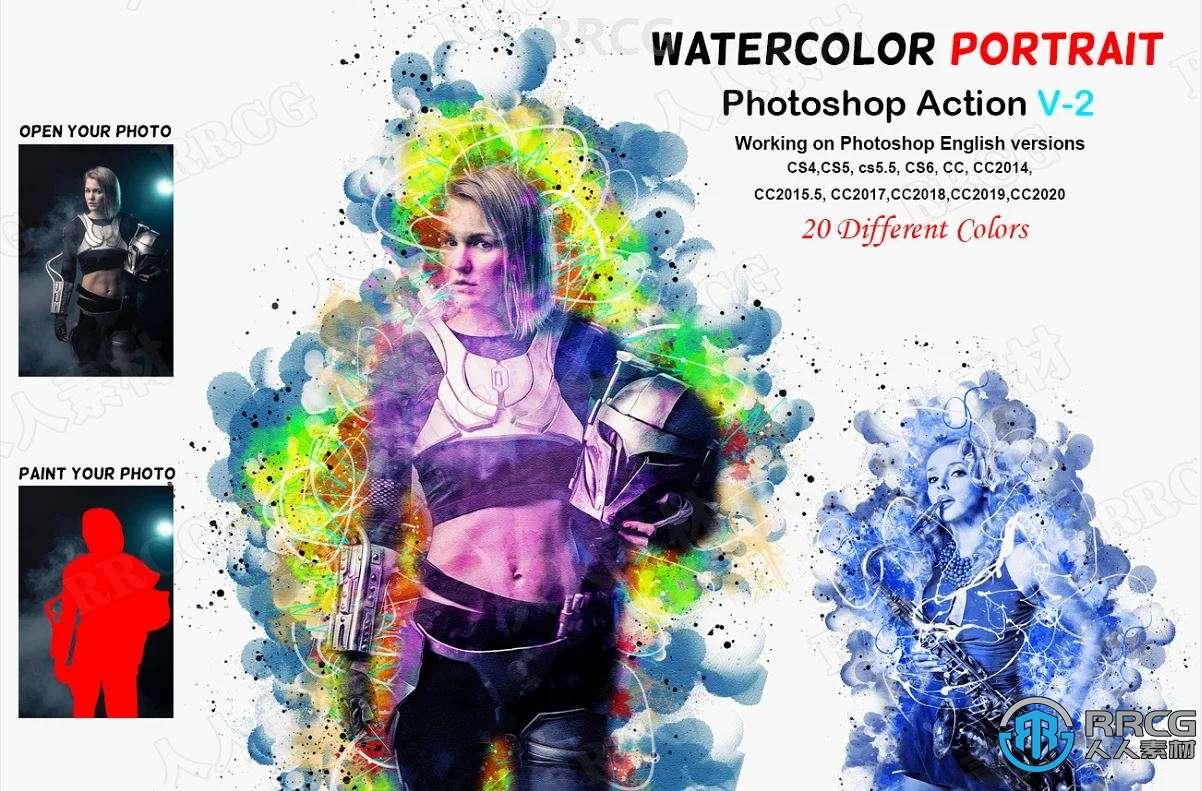 水彩圆形立体形状晕染多彩背景人像艺术图像处理特效PS动作