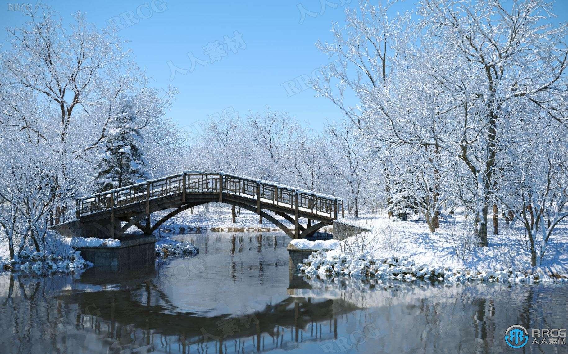 高质量冬季雪松桦树梣树榆树等树木植物3D模型合集