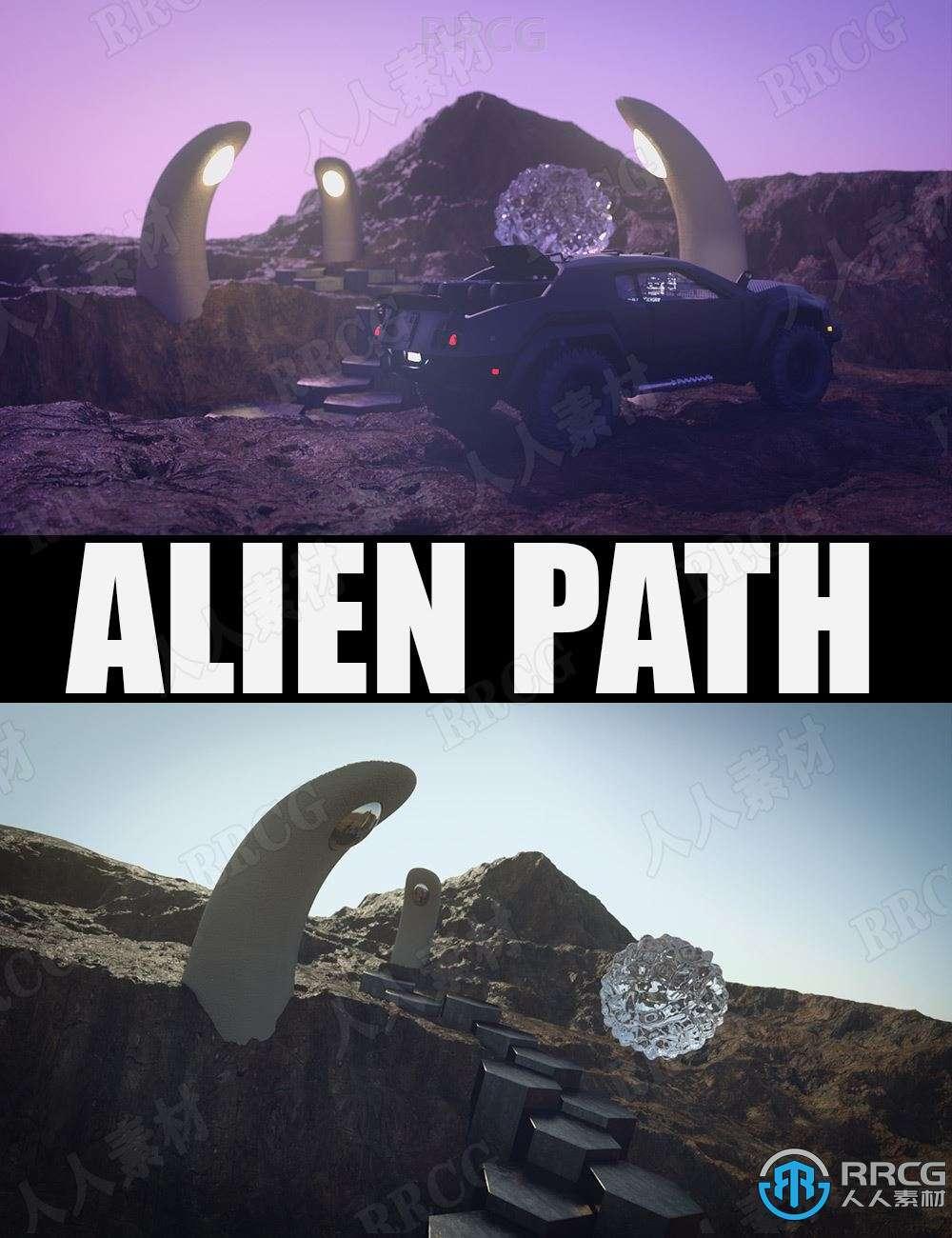 科幻外星人行走路径岩石神秘环境场景3D模型合集