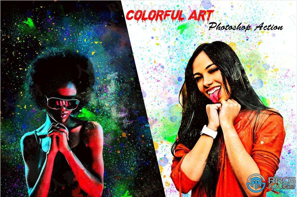 多彩颜料斑点背景绘画效果人像艺术图像处理特效PS动作