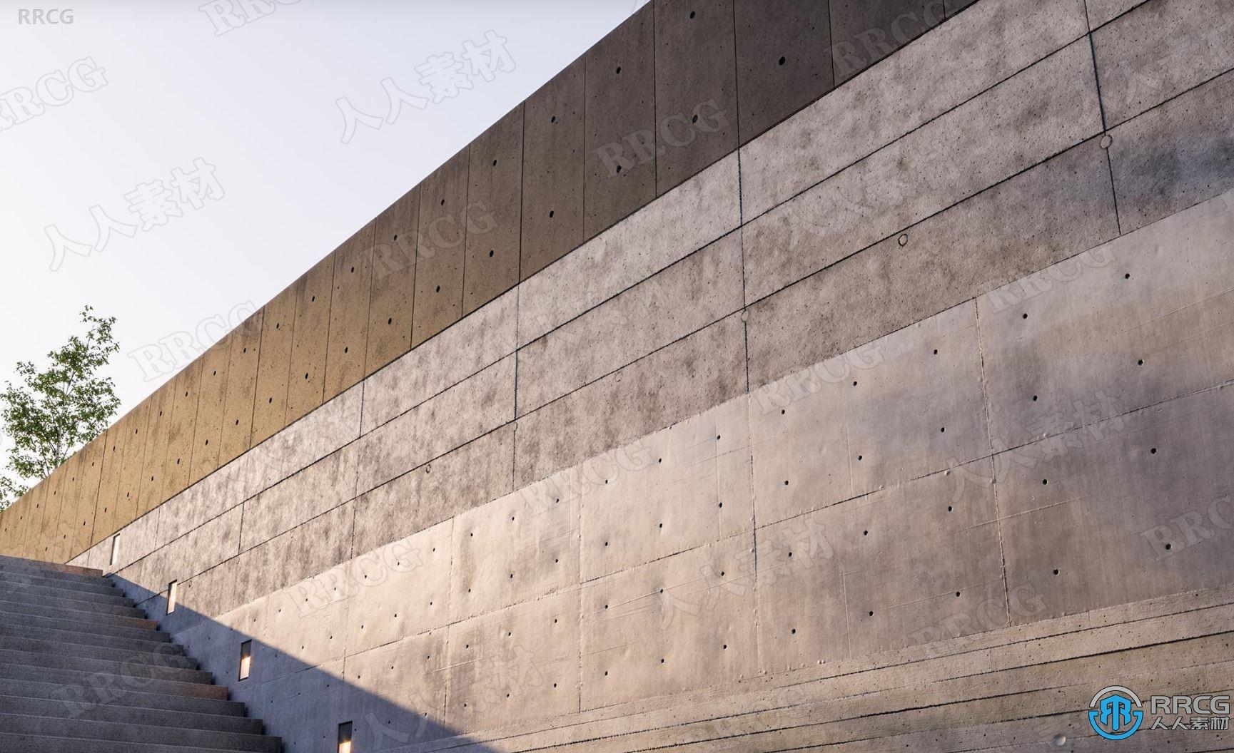 24组8K混凝土墙壁地面PRB无缝纹理贴图合集