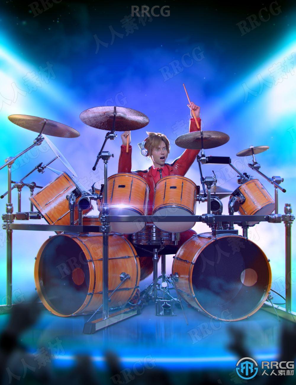 架子鼓乐器人物演奏姿势3D模型合集