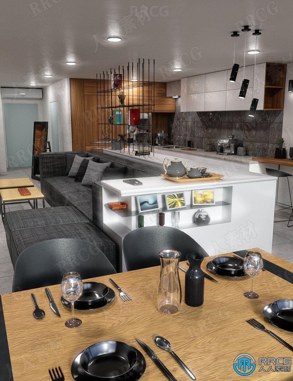 现代简约干净时尚装饰室内公寓设计3D模型合集