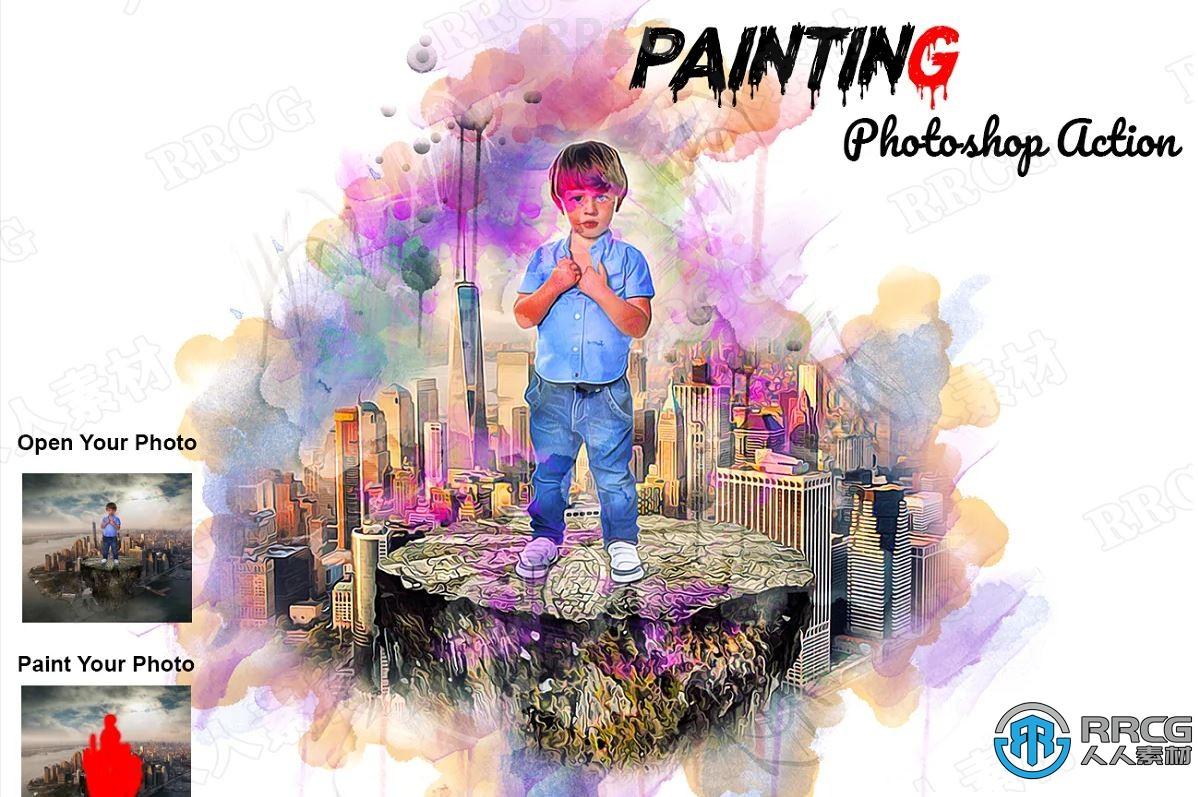 10种不同颜色同色系梦幻背景晕染效果水彩画艺术图像处理特效PS动作