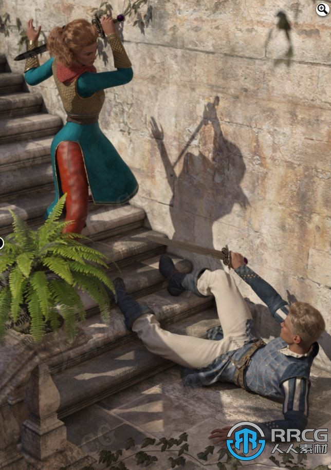 中世纪古代中庭人物打斗姿势3D模型合集