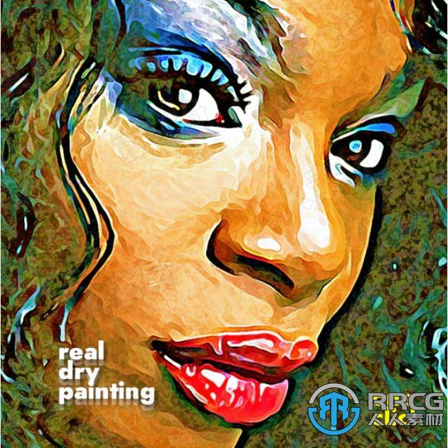 卡通明亮油画效果人像场景艺术图像处理特效PS动作