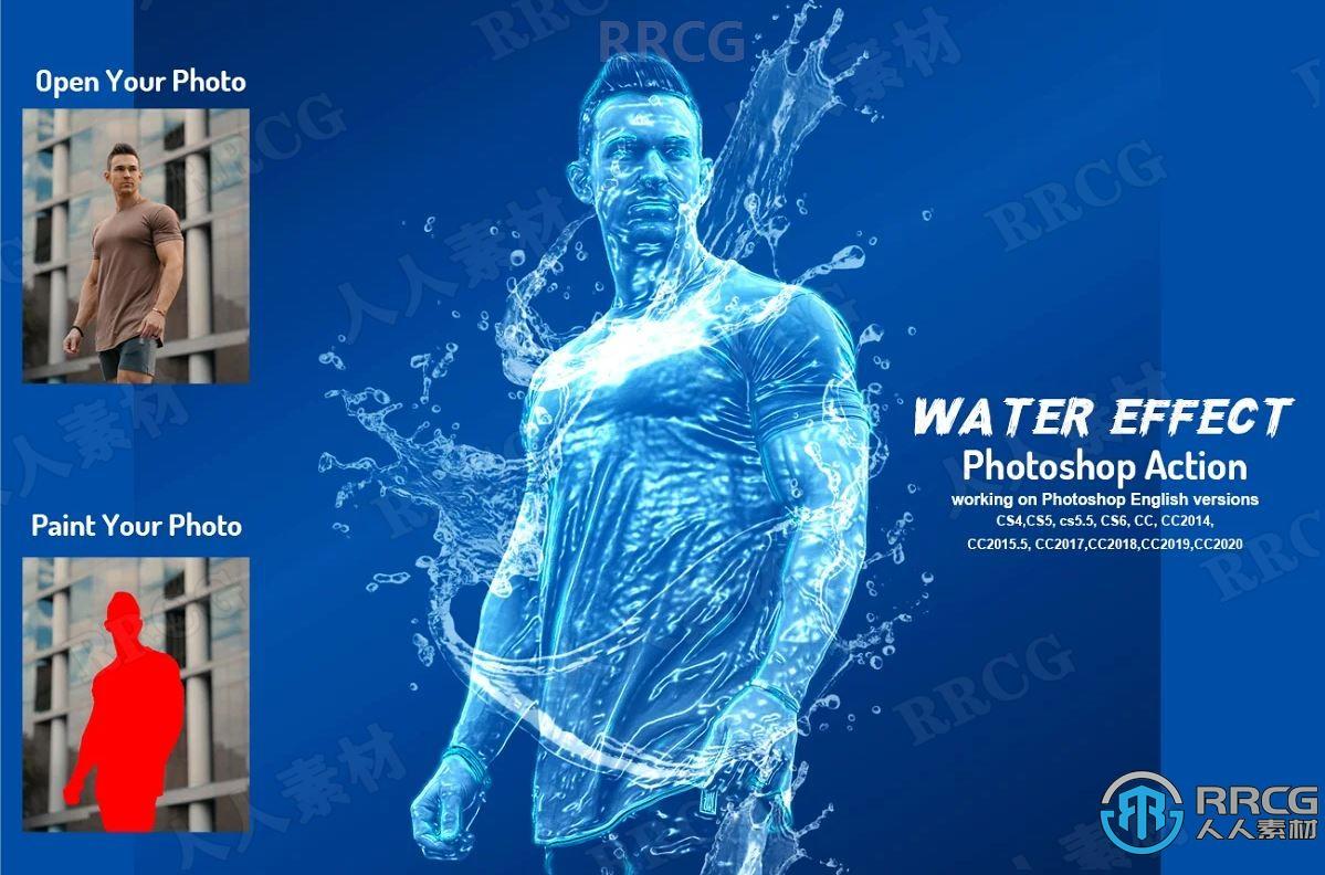 蓝色背景清透逼真水滴水流围绕效果人像艺术图像处理特效PS动作