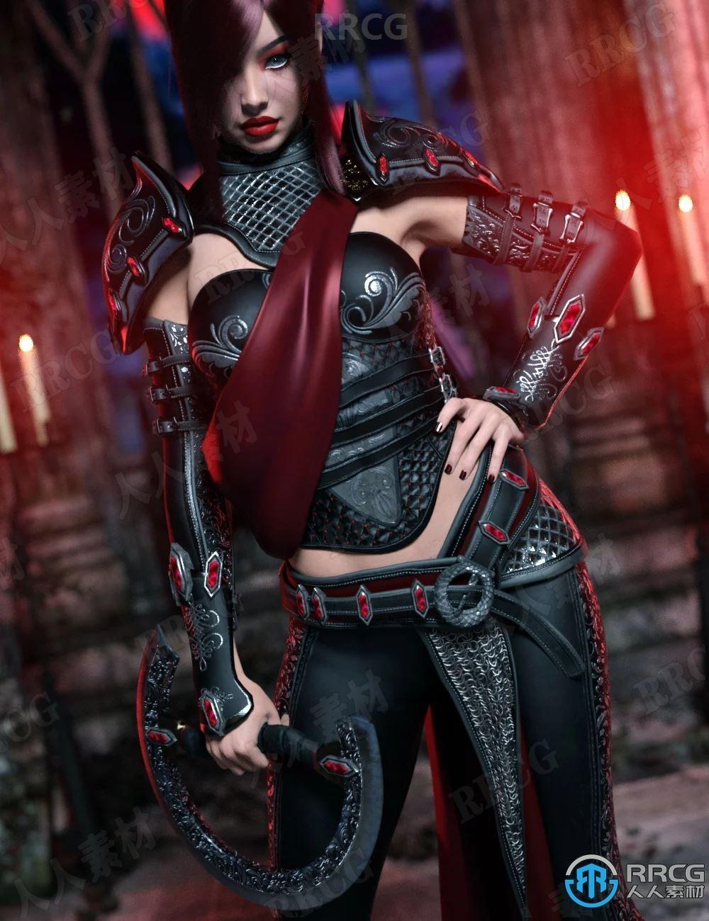 科幻黑暗恶魔女性钢铁服饰套装3D模型合集