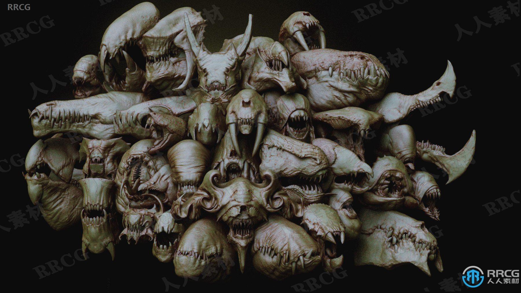 33个概念异形怪物嘴和头骨ZBrush subtool IMM Brush.雕刻3D模型合集