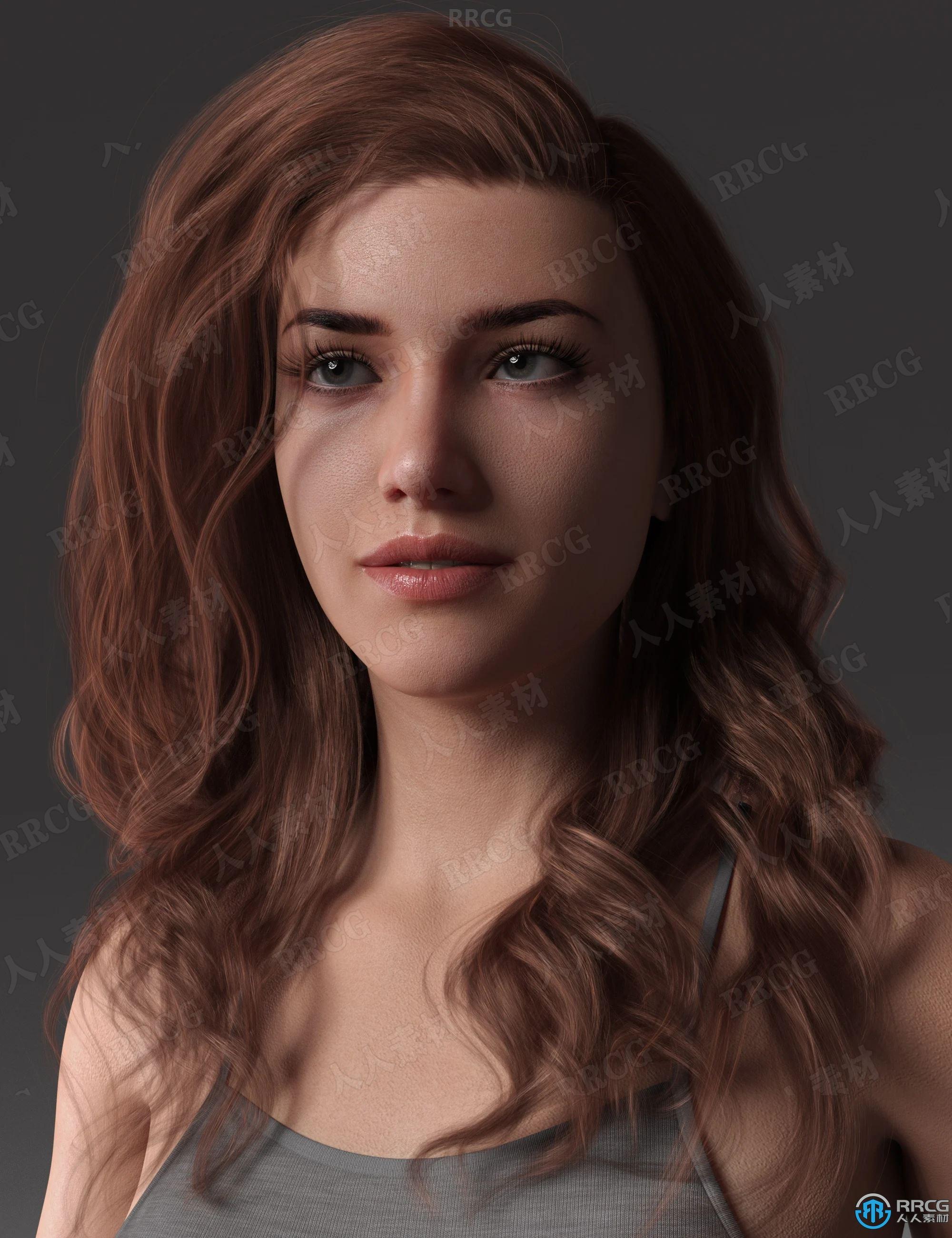 狂野性感年轻女性自然卷曲长发发型3D模型合集