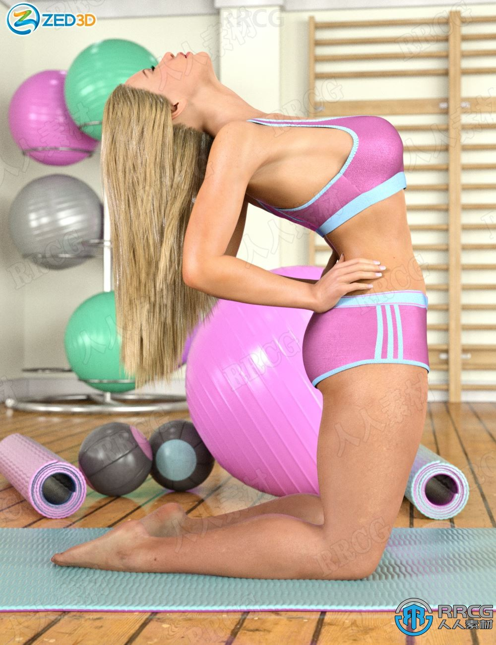 女性健身瑜伽动作姿势3D模型合集