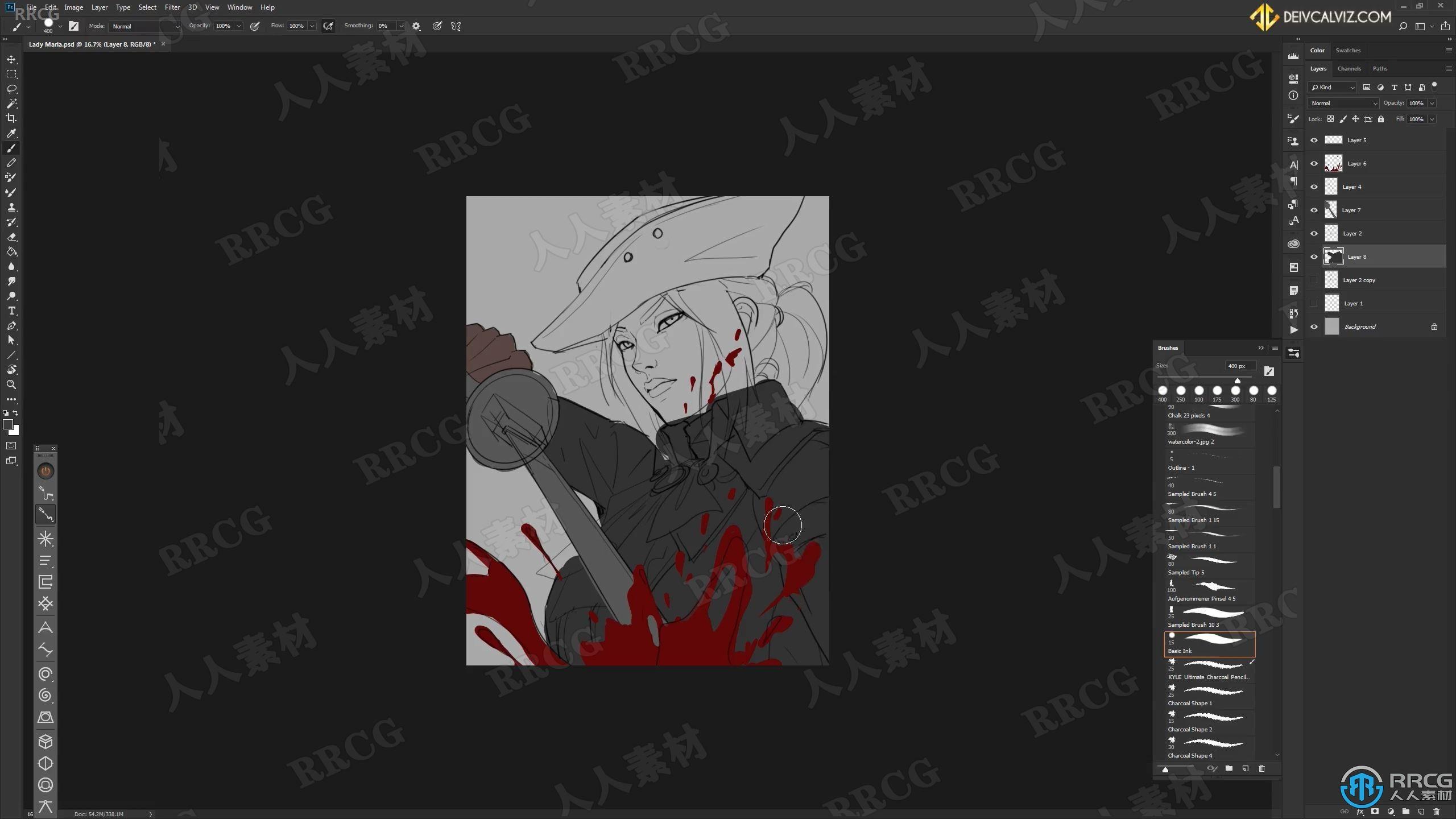 【中文字幕】血源游戏角色数字绘画实例训练训练视频教程