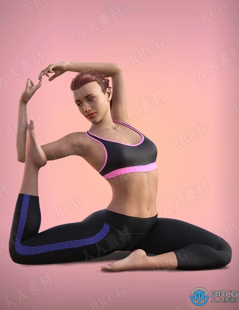 人物标准柔软瑜伽姿势动画3D模型合集