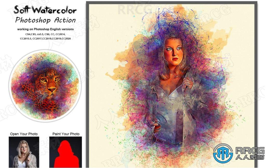 多彩线条水彩画晕染效果背景包围角色艺术图像处理特效PS动作