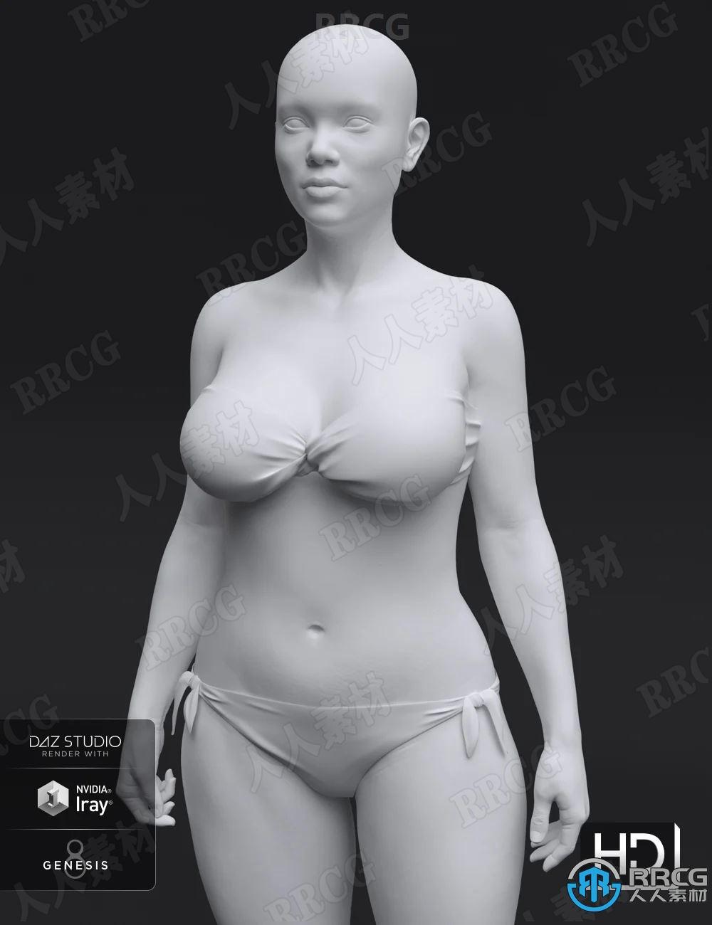 女性头部人体角色附加组件3D模型合集