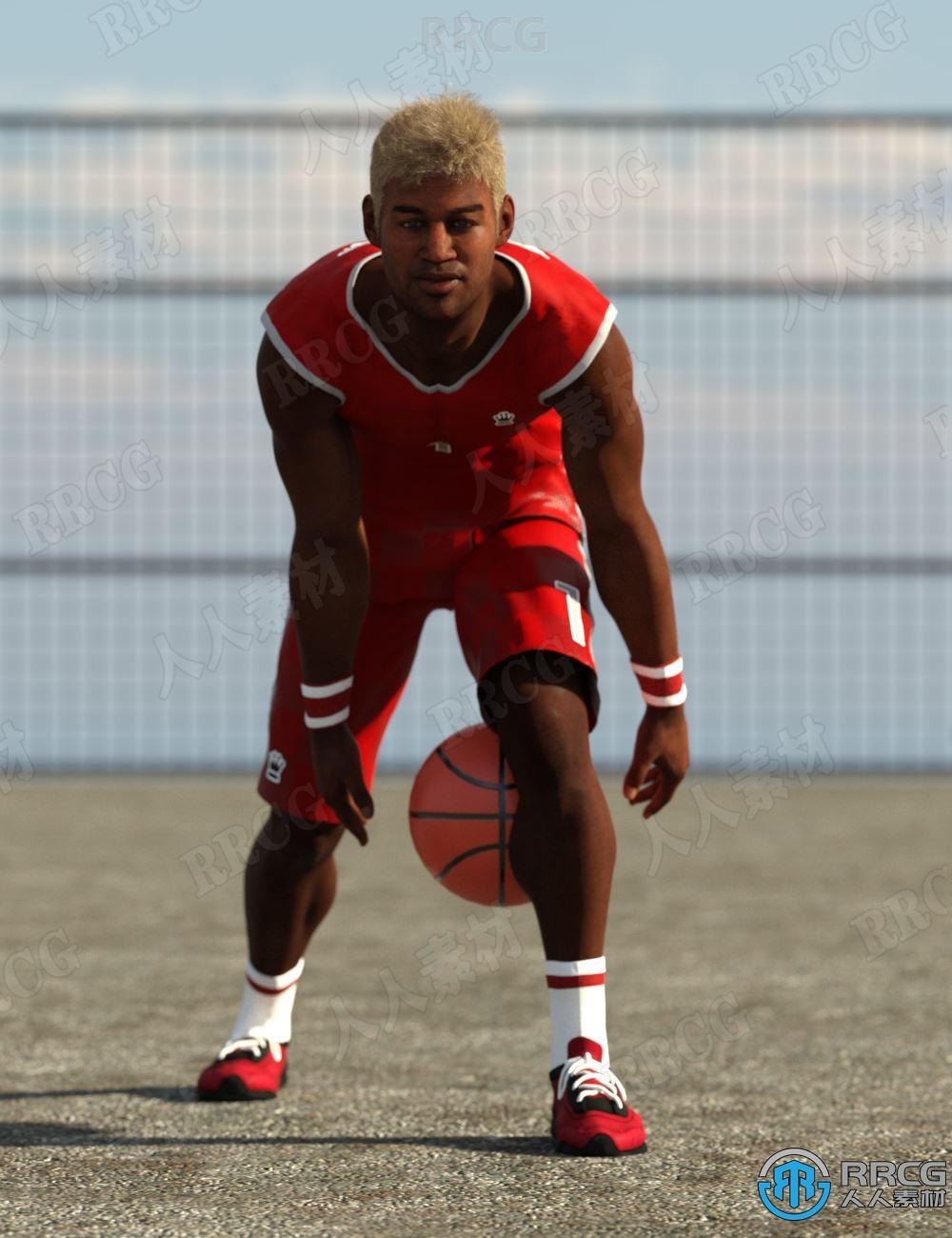 20组帅气运动员角色打篮球姿势3D模型合集