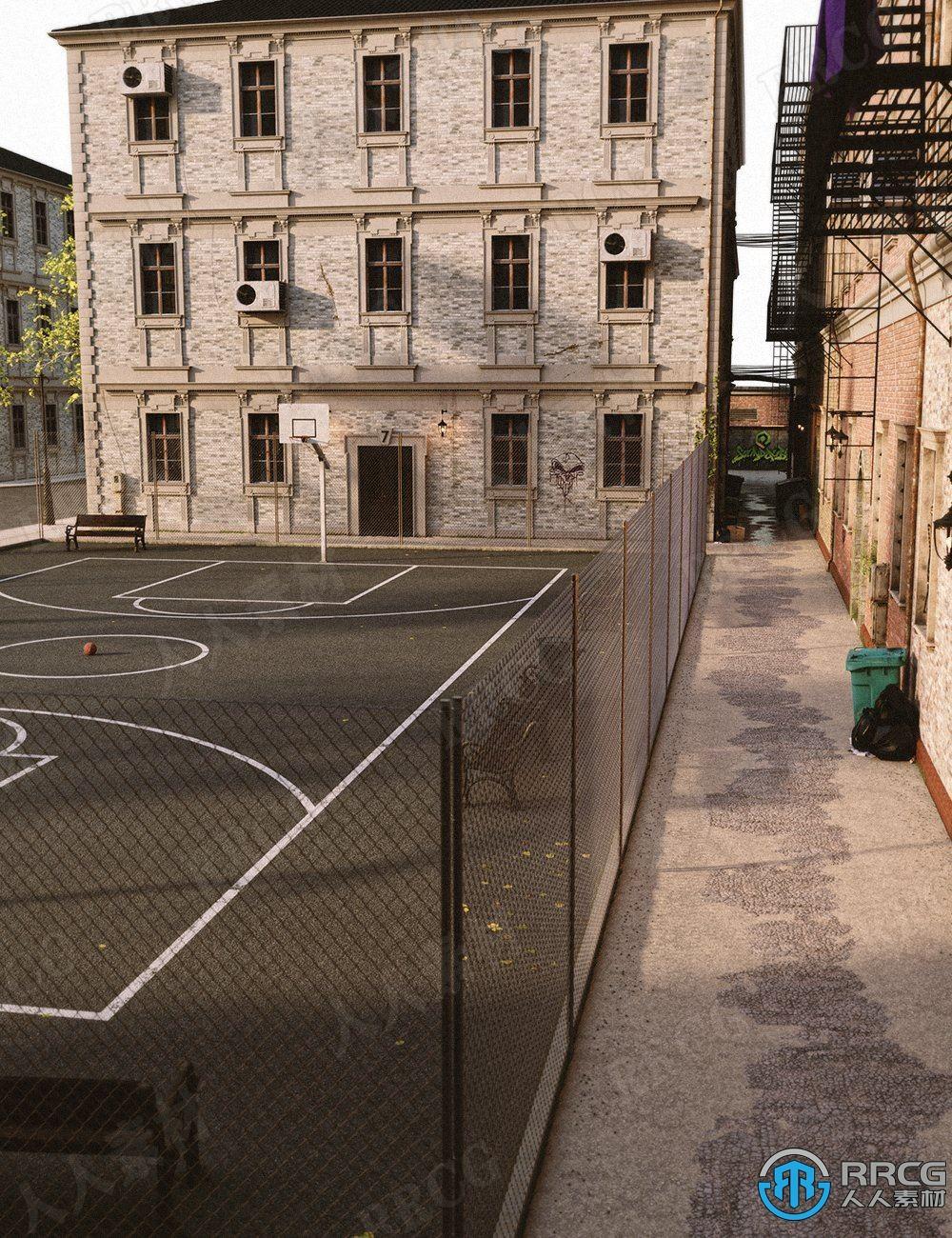 复古园区休闲篮球场环境场景3D模型合集