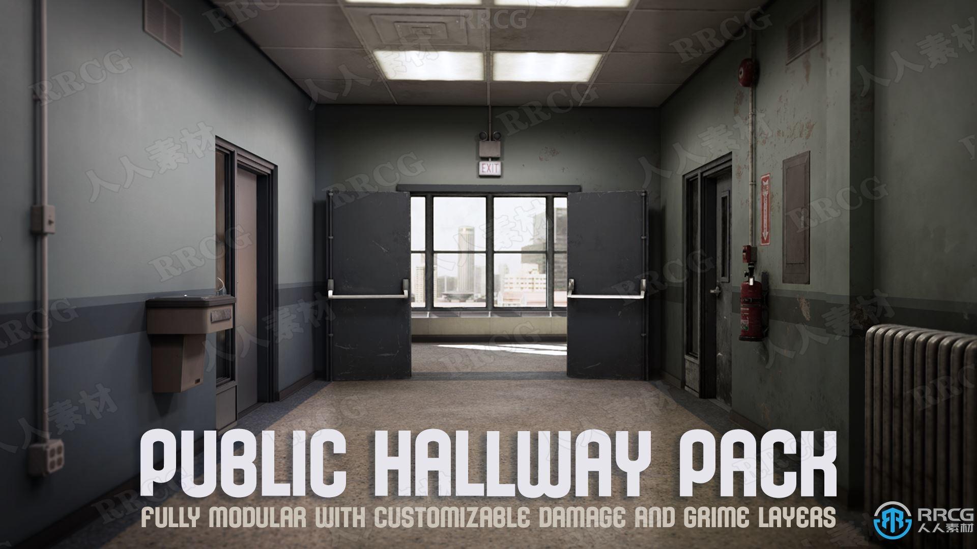 废弃老旧室内模块化环境道具Unreal Engine游戏素材资源