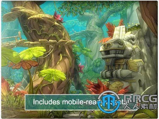 手绘动画效果植被森林3D梦幻场景Unity游戏素材资源