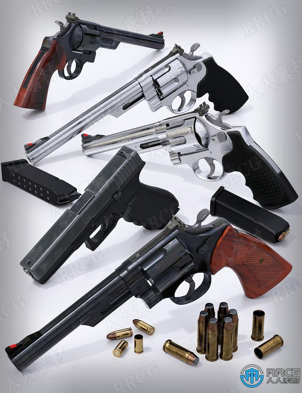 逼真现代战斗手枪武器道具3D模型合集
